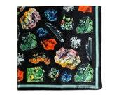 100% Silk Scarf Gems and Minerals Bandana 17x17