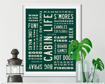 CABIN LIFE Sign, Cabin Decor, Word Art Print, Typography Poster, Rustic Wall Art, Lodge Decor, Personalized Colors, Vacation Home.