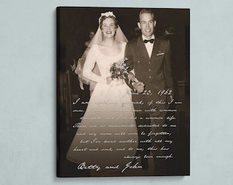 50th ANNIVERSARY GIFT, Wedding Photo Canvas, Wedding Song Lyrics, Gift for Grandparents, Custom Wedding Gift, 25th Anniversary Gift.