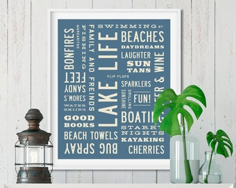 LAKE LIFE Sign, Lake House Decor, Word Art Print, Typography Poster, Beach House, Wall Art, Personalized Cottage Decor, 8x10, 16x20, 24x30