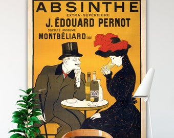 VINTAGE ADVERTISING Art, Oversized Canvas Wall Art, Absinthe Art Nouveau Poster, Leonetto Cappiello, Paris Art Print, French Wall Decor.