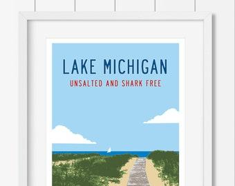 LAKE MICHIGAN Unsalted Poster, Vintage Michigan Travel Poster, Michigan Art Print, Lake House Decor, Michigan Wall Art, Michigan Gifts.