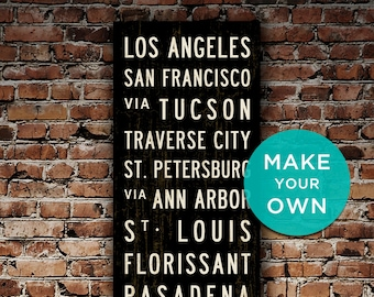 CUSTOM Subway Sign, Personalized Wall Art, Subway Art, Canvas Travel Poster, Transit Sign, Word Art, Home Wall Decor, Travel Art. 20x60