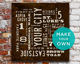 PERSONALIZED Subway Art, Custom City Art, Rustic Wall Art, Personalized Home Decor, Industrial Decor, Typography Art Canvas.