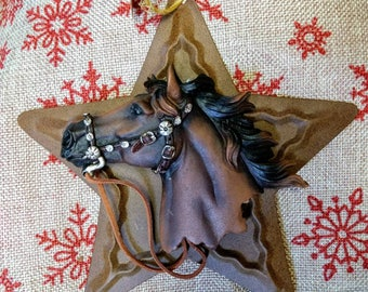Western star horse head ornament