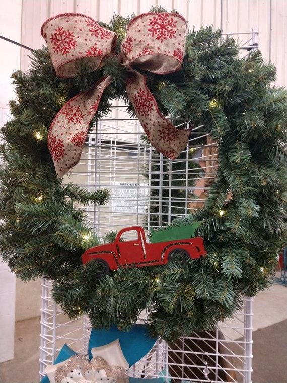 24 pre lit red snowflake ribbon red truck wreath