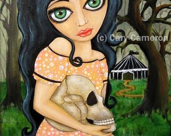 Day of the Dead, Dark Circus, Big Eye Girl, SKULL, Original Painting, Goddess - Cary Cameron