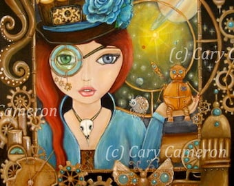 STEAM PUNK, space, Big Eye Girl, ORIGINAL Painting, clockwork, gears, Goddess - Cary Cameorn