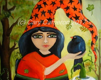 Fat Witch, Black bird, Fall Leaves Original painting, Big Eye, Gothic, Goddess, crow, Halloween