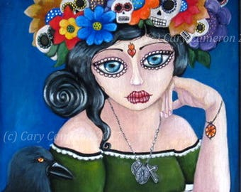 Day of the dead; Sugar SKULL Crown, Original painting, Big Eye, Gothic, Goddess, crow, saint