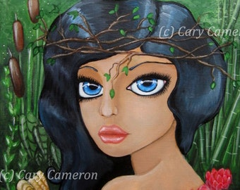 ORIGINAL Painting, folk art, Nymph, flower Big Eye Girl, Fantasy, Lowbrow Painting -  CARY CAMERON