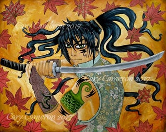 Autumn Samurai WARRIOR, Original by Cary Cameron, Japan, Historical, Anime