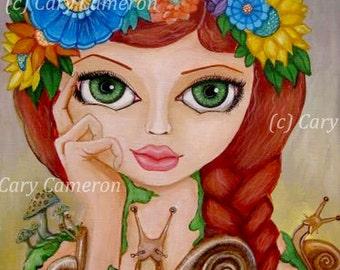 Original folk art Snail, flower Big Eye girl, Fantasy, Lowbrow Painting - CARY CAMERON