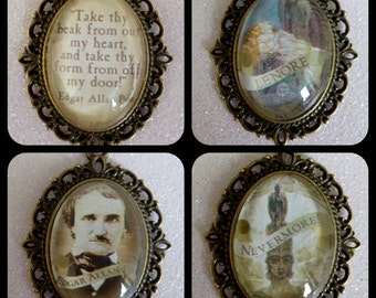 Edgar Allan Poe Inspired Bronze Vinatge Cameo Necklace