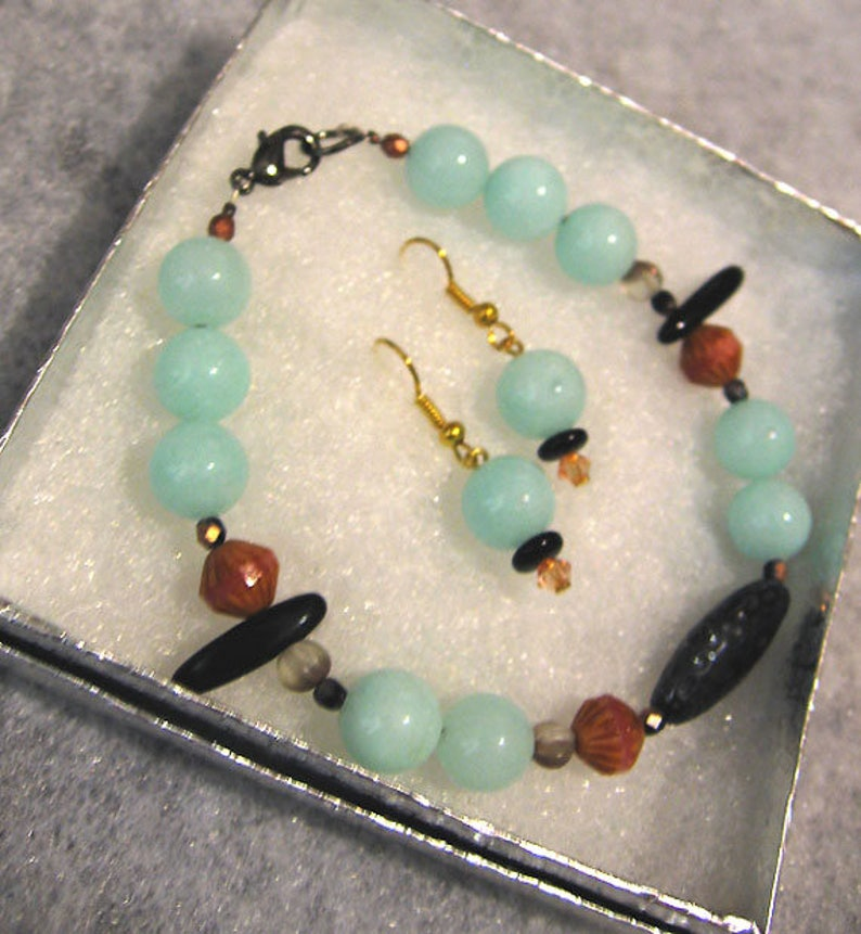 Light Aqua JADE and BLACK MIX Bracelet and Earrings