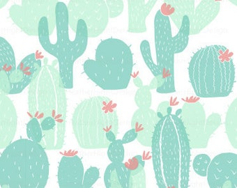 Cactus Baby Fabric By The Yard - Gentle Cacti Stamp Seafoam Green Blue Print in Yard & Fat Quarter