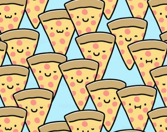 Pizza Buddies Fabric By The Yard / Cute Pizza Fabric / Funny Pizza Faces / Childrens Fabric / Slice Light Blue Print in Yard & Fat Quarter