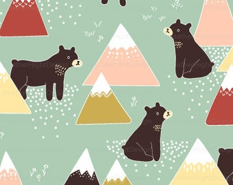 Bears and Mountains Fabric By The Yard - Black Bears Tribal Mountains Modern Print in Yard & Fat Quarter