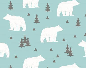 Woodland Bear Fabric By The Yard - Winter Cabin Mint and White Bear Print in Yards & Fat Quarter