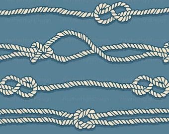 Nautical Sailor Knots Fabric By The Yard - Rope Knots Seafarer Maritime Pattern Print in Yard & Fat Quarter