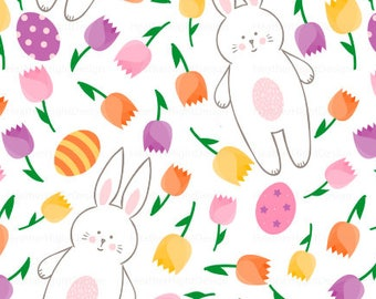 Easter Rabbit Fabric by the Yard / Spring Bunny Fabric / Quilting and Blanket Fabric / Childrens Fabric / Easter Print in Yard & Fat Quarter