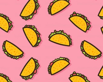 Taco Party Fabric By The Yard / Whimsical Ditsy Taco Fabric / Cartoon Taco Fabric / Cotton Fabric / Pink Taco Print in Yard & Fat Quarter