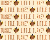 Little Turkey Fabric by the Yard / Thanksgiving Fabric / Autumn Fabric / Fall Fabric / Children Boys Fabric Print in Yards & Fat Quarter