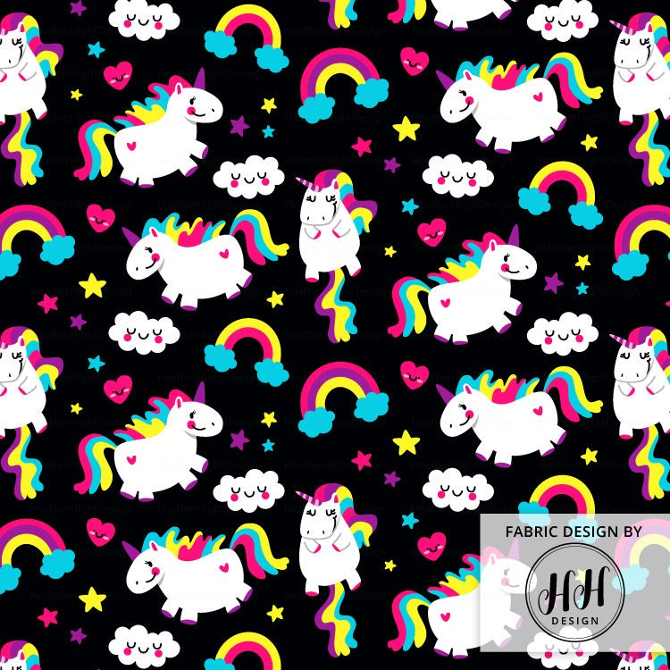 Unicorn Fabric By The Yard Black Fat Unicorn Cute Etsy