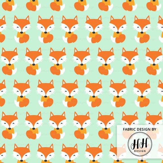 Blue and Orange Fox Print Craft Cotton Fabric Per Metre