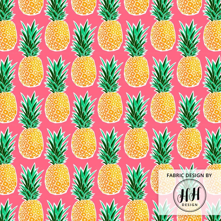 Tropical Pineapple Fabric By The Yard Pink Geometric Etsy