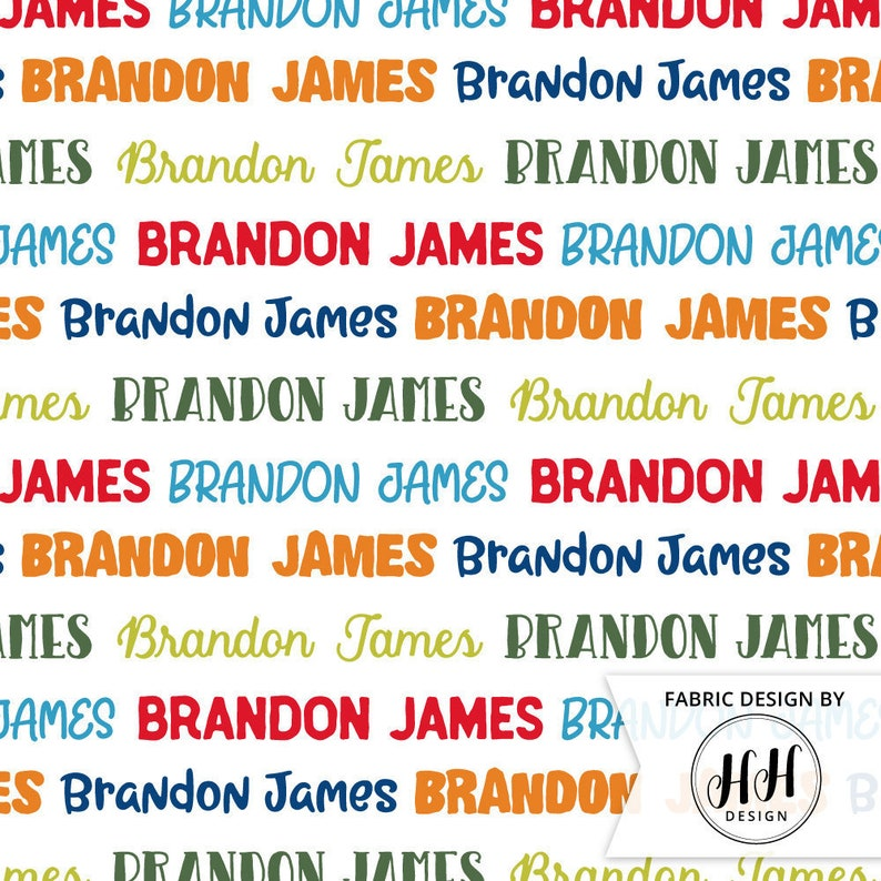 Boys Personalized Fabric  Bright Colorful Name Fabric  Quilting Fabric  Custom Name Fabric  Nursery Kids Print by the Yard /& Fat Quarter