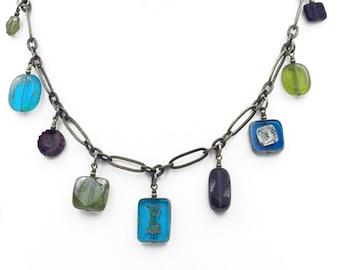 Jewel Tone Czech Glass Bead Dangle Necklace