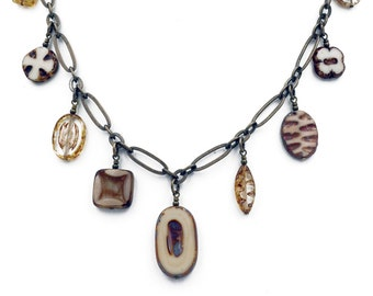 Neutral Czech Glass Dangle Bead Necklace