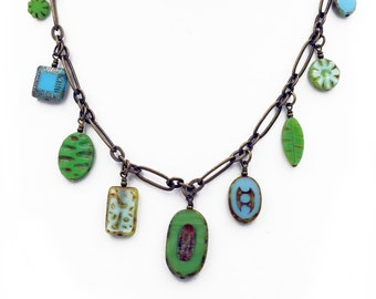 Green and Turquoise Czech Glass Bead Dangle Necklace