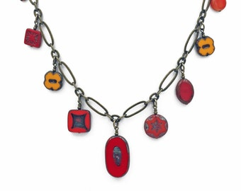 Red, Orange, and Yellow Czech Glass Bead Dangle Necklace