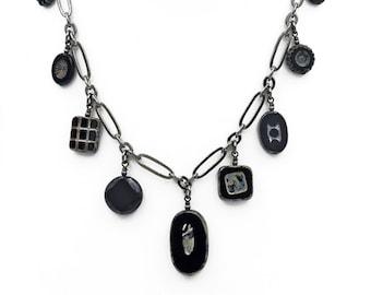 Jet Black Czech Glass Bead Dangle Necklace