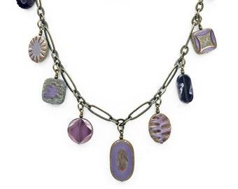 Purple Tone Czech Glass Bead Dangle Necklace