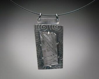 Seymchan Meteorite and Textured Sterling Silver Pendant