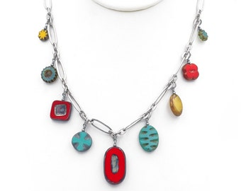 Red, Turquoise Yellow Czech Glass Dangle Bead Necklace
