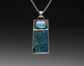 Azurite and Turquoise Rectangular Shaped Pendant