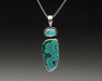 Malachite/Azurite and Hubei Turquoise Pendant