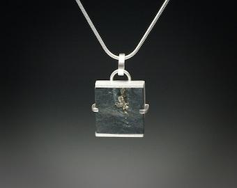 Pyrite in Slate Square Shaped Pendant