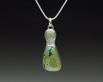 Olive Green Hubei Turquoise Two Stone Pendant