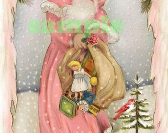 Vntage Pink Santa tag,  Digital, download, printable, DIY, scrapbooking, cardmaking, Christmas
