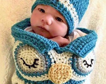 Baby Owl Cocoon Hat Set, Crochet Newborn Owl Set, Baby Owl Photo Prop, Crocodile Stitch Owl Set, Newborn Owl Cocoon,Baby Owl Cocoon Hat Set