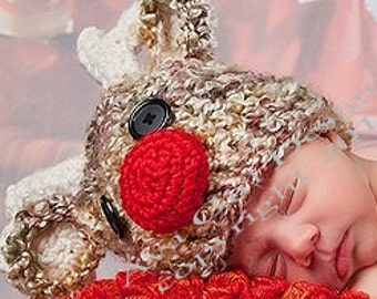 Christmas Hats, Reindeer Hat, Baby Christmas Hat, Baby Reindeer Hat, Baby Holiday Hat, Christmas Decorations, Holiday Baby Hat, Crochet Baby