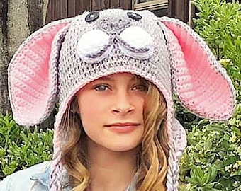 GRAY grey deLux BUNNY RABBIT HAT knit warm comfy ADULT pink ears Easter Ski Cap
