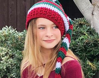 Knit Elf Christmas Hat - Holiday Hat - Baby Elf Hat - Striped Elf Hat - Christmas Hats - Christmas Photo Props - Elf Hats - Christmas