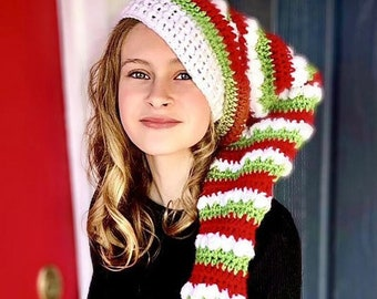 Knit Christmas hat - Holiday Hat - Elf Hat - Baby to Adult Christmas Hat - Yuletide Christmas Hat - Ava Girl Designs