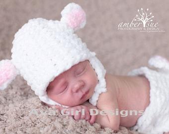 Lamb hat diaper cover,  baby lamb hat,  diaper cover set, animal hat